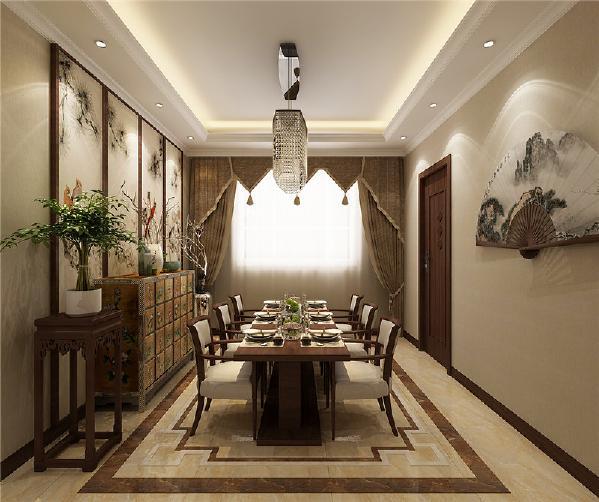 空间装饰多采用简洁硬朗的直线条。直线装饰在空间中的使用,不仅反映出现代人追求简单生活的居住要求,更迎合了中式家具追求内敛、质朴的设计风格,使