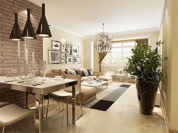 餐厅为四人餐桌,与客厅的吊灯产生了对称美,就餐区域使用了文化石的壁纸,为整个空间添加一份暖意同时也更富有创意。