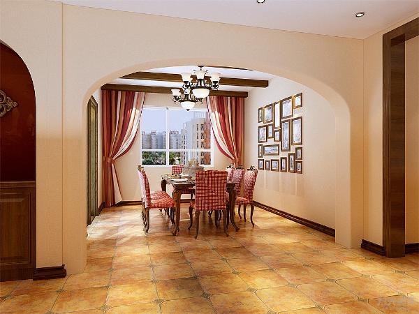 餐厅处我们用的是简单地美式田园的6人餐桌,加上一个照片墙的组合,顶面我们用生态木做成了3根长方形的木条,过道处我们在餐厅和过道处用一个拱门作为餐厅和过道处的分界。