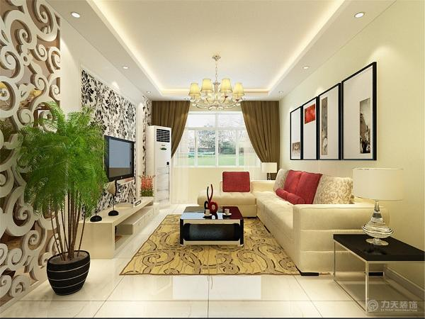 客厅整体米黄色乳胶漆,电视墙是分为了三部分,中间是U型石膏板加上石膏线圈边中间是贴有壁纸,两边造型一样,都是雕花板加上底部的茶镜,这样会让空间有一个进升得感觉。整个感觉会给人一种简洁大方的感觉。