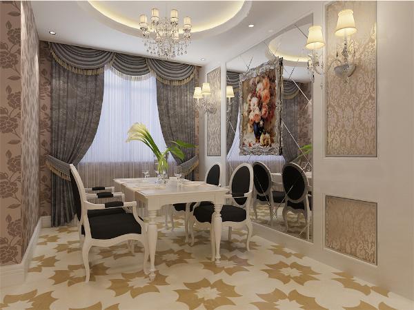 餐厅采用圆形吊顶,餐厅吊灯与客厅相呼应,餐厅背景墙安装菱形玻璃,增加空间内采光,并在两侧安装两组壁灯,凸显时尚元素。