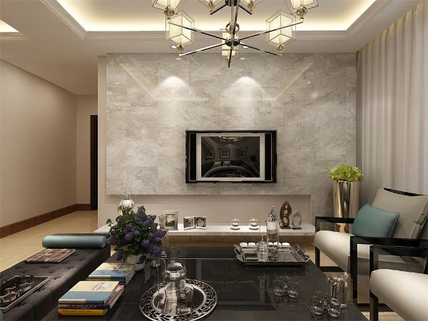 布艺的沙发为空间增添温暖简洁干净的气息,沙发两侧分别有一个沙发柜,放置了台灯,便于业主夜里可以防止磕绊摔倒,也可以放些随身的小物件。