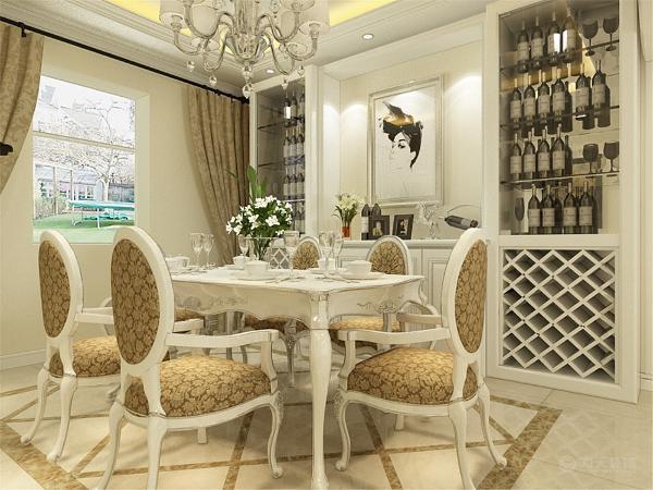 餐厅边上放的整体的酒柜,吊顶与客厅的相同,整体的墙面是浅米黄色,