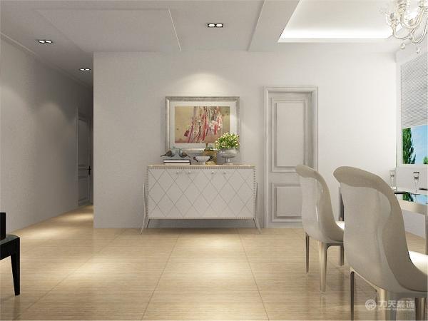 在玄关位置和过道位置则是选择的石膏板吊顶,凹字型的设计,简单明了的区分餐厅、玄关、客厅三个功能区的区别。