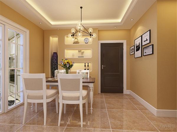 在布局上追求空间的有效利用,石膏板拉缝吊顶贯通客厅和餐厅,让本来不是特别大的客厅一下宽敞、明亮起来。