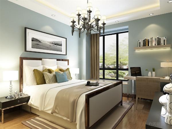 同样沿袭了现代简约风格,且房间的朝向为南向,使得整个房间更加宽敞明亮,端庄雅致,在飘窗处放置了榻榻米,能让业主拥有更好的享受。且房间配有卫生间,保证了住户的私密性,方便主人使用。