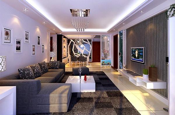 正商金域世家B2两室两厅装修效果图 88平方两室两厅现代简约样板间装修案例