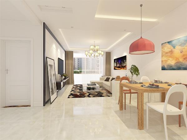 餐厅与客厅之间放置了一个淡淡的绿色柜,作为过渡,原木色的餐桌与红木的餐椅还白色混油的椅子形成了明显的对比,以三原色为基础的装饰画,使得空间充满了色彩与现代家装的感觉。