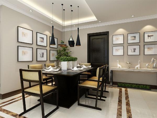 厨房门正对餐厅,放置了一组简约的餐桌椅的餐桌椅,再在墙上挂置多个相框,使简约的空间变得不简单起来。且方便生活中烹饪、就餐和打理。