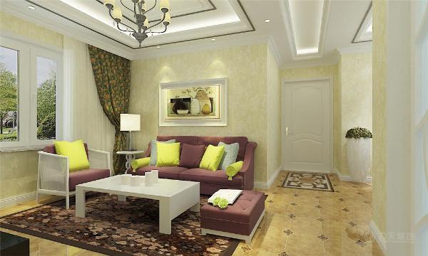 室内多采用带有图案的壁纸、地毯、窗帘(简约欧式风格窗帘的代表花型是大马士革)、床罩、帐幔及古典装饰画,体现华丽的风格。墙面选用壁纸,以烘托效果。地面材料以石材为主。