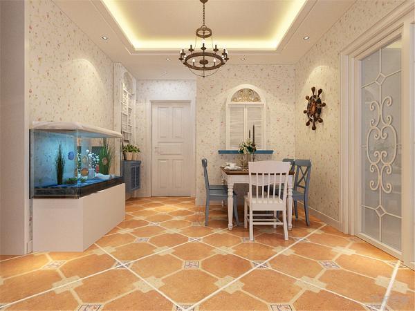 餐厅采用拱形的装饰物和鱼缸,使本案更加能体现地中海风格。