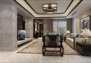 绿岛阳光苑别墅新中式装修设计