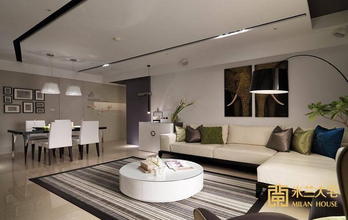 简约 三居 客厅图片来自米兰大宅设计会所在165平方米现代简约三居室的分享
