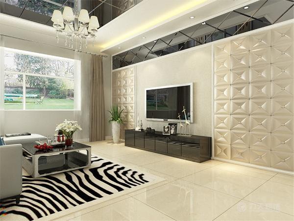 本次的设计风格是现代简约。客厅铺的是浅色的地砖,
