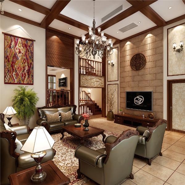 复地北桥城别墅装修美式风格设计方案展示,上海腾龙别墅设计,