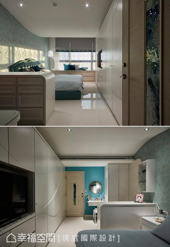 设计师周靖雅将公共空间的蓝绿色调延伸进主卧,但是更加清爽,适合睡眠空间。