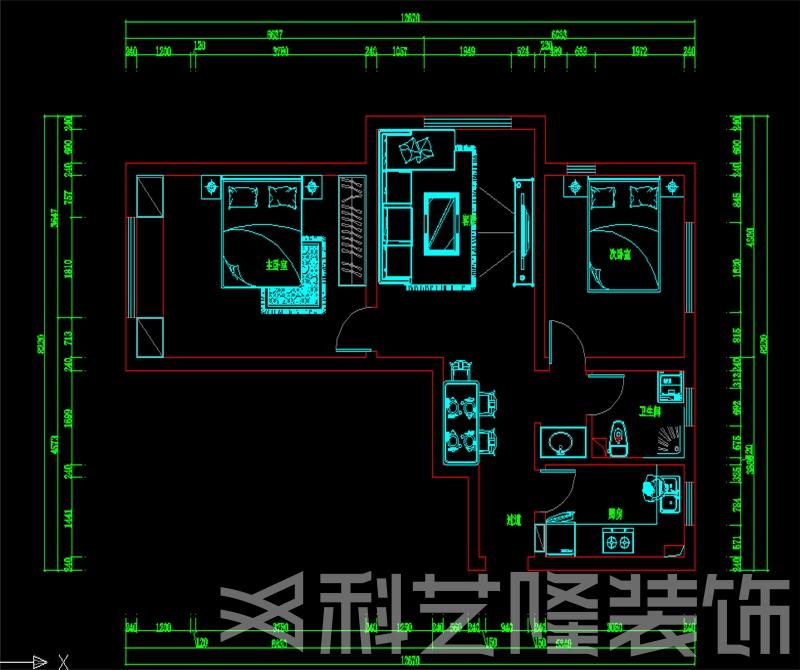 户型图图片来自天津科艺隆装饰在华城佳苑—简欧风格—88㎡的分享