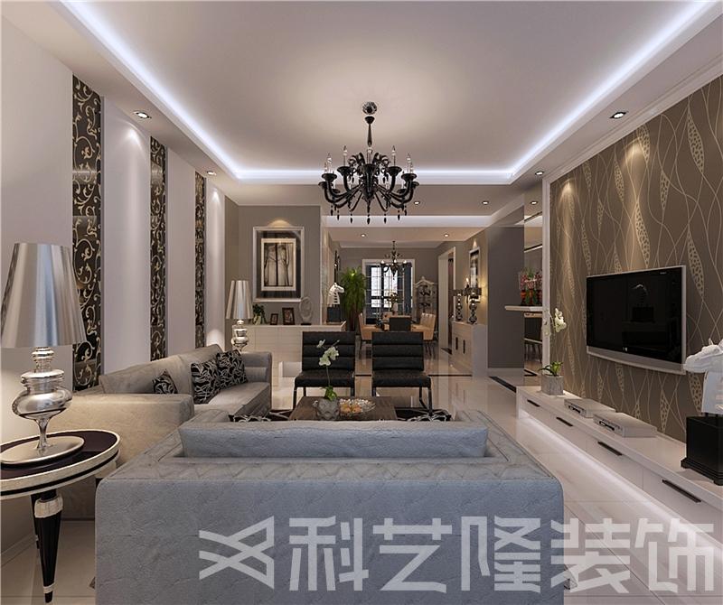 客厅图片来自天津科艺隆装饰在华城佳苑—简欧风格—88㎡的分享