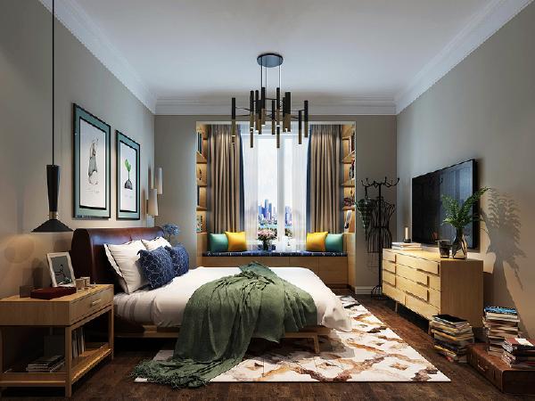主卧室的设计放弃过多的装饰,而是简单的暗色乳胶漆作为床头背景墙,地面采用深色实木的地板,而在拼装的方式上也有所改动,改变传统的地板铺贴方式。