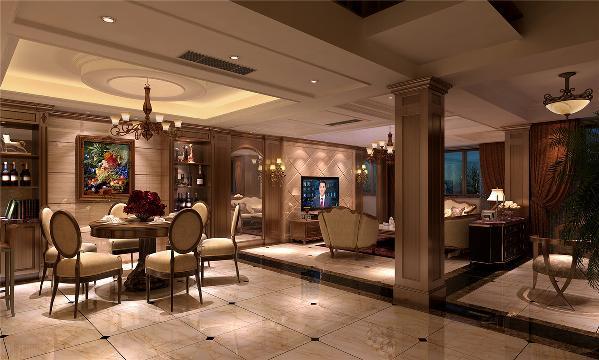 浦东莱茵美墅别墅装修美式风格设计方案展示,上海腾龙别墅设计