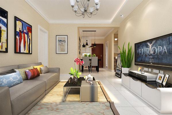 这是金地艺境两室两厅一厨一卫的一套83平米的户型。这套方案做的是现代风格。整体没什么造型。