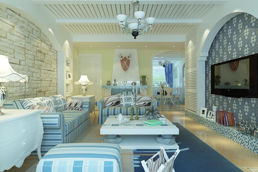 地中海 餐厅 厨房 卧室 客厅图片来自苏簌在保利春天里120平米地中海风格的分享