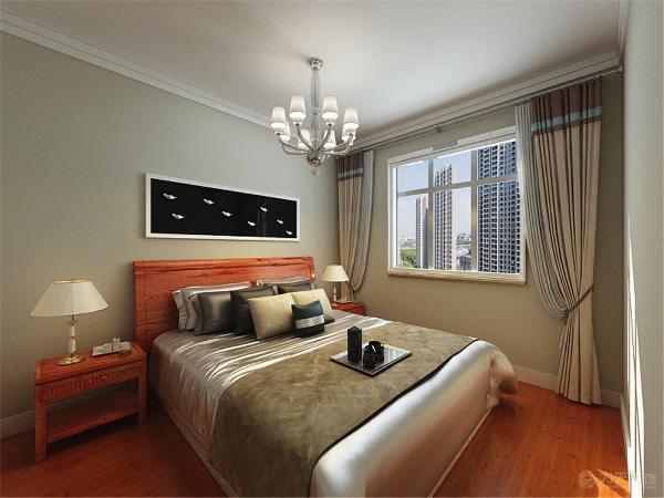 两个卧室:主卧室原定大面积乳胶漆加一圈80石膏素线,墙面采用同可餐厅墙面一样的乳胶漆,地面偏黄色的实木复合地板。