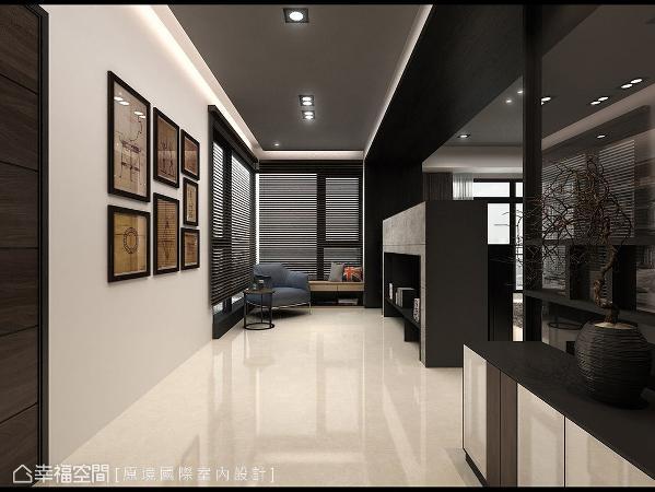 入门后,设计师邱郁雯以深色门框界定完整的玄关与休憩区,并以矮柜、矮墙与玻璃屏隔区分公共空间。 (此为3D合成示意图)