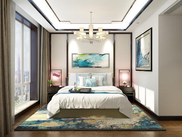 主卧室在设计上墙面跟客餐厅不同,墙面没有做过多的造型,床头简单的木制线条装饰与顶面的简单的木制线条造型相呼应,地面浅蓝色的地毯和墙面的壁画相呼应。地面原木色地板的铺贴,使整个空间年轻而富有活力。