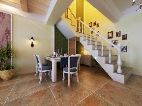 田园 复式 小资 楼梯图片来自天津白天鹅装饰工程有限公司在香槟城复式225平田园的分享