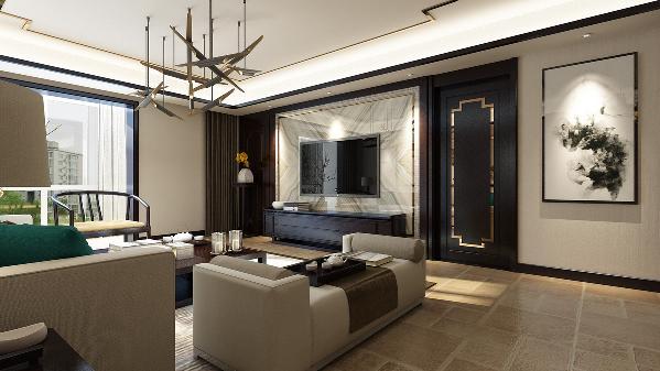 电视背景墙在设计上因跟主卧门在一侧,所以主卧的门在设计上和电视背景墙作为一体,给人的视觉感上融为一体。墙面水墨画的搭配使得整个空间更具时代感。
