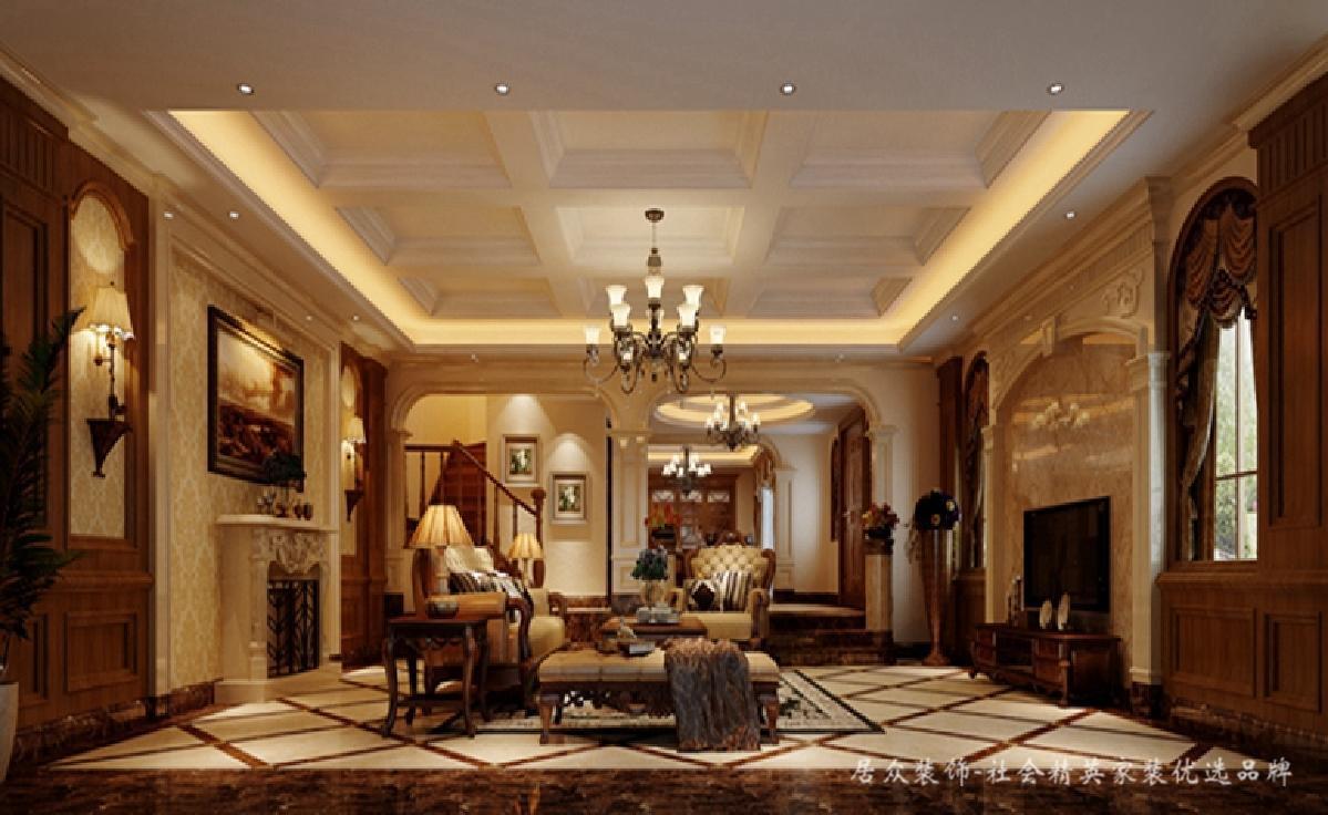 客厅图片来自深圳居众装饰集团在贵气复古美式-鲸山觐海350㎡的分享