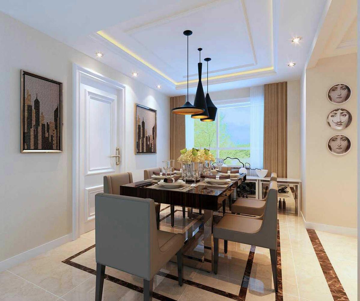 客厅灯池装修效果图_餐厅的地砖铺贴方式和门厅及客厅一样,浅黄色地砖铺贴,两圈 ...