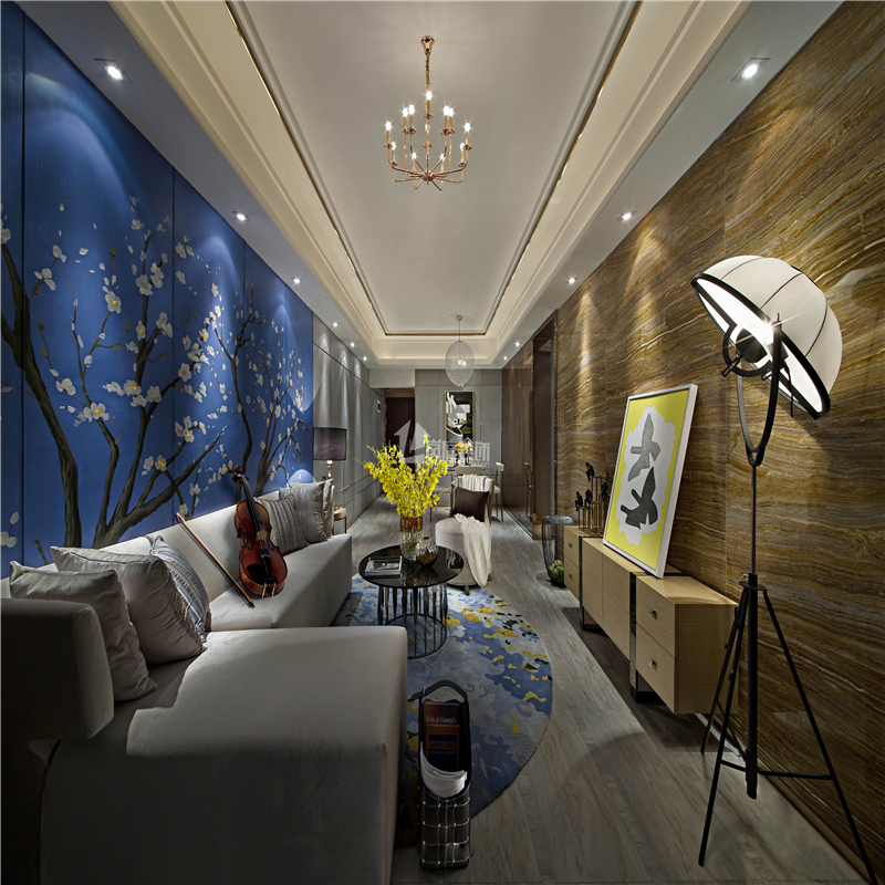 简约 混搭 二居 收纳 创意 舒适 客厅图片来自岚庭家居在金地澜菲溪岸 96m² 现代混搭的分享