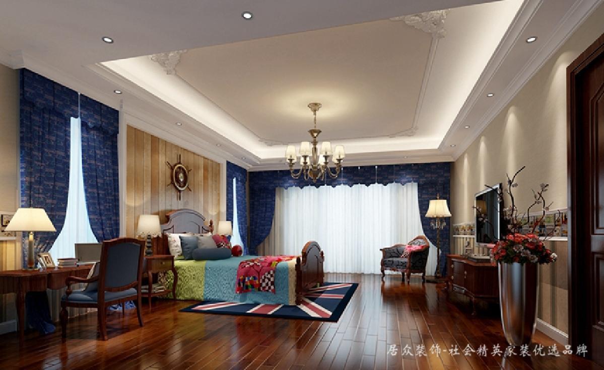 卧室图片来自深圳居众装饰集团在贵气复古美式-鲸山觐海350㎡的分享
