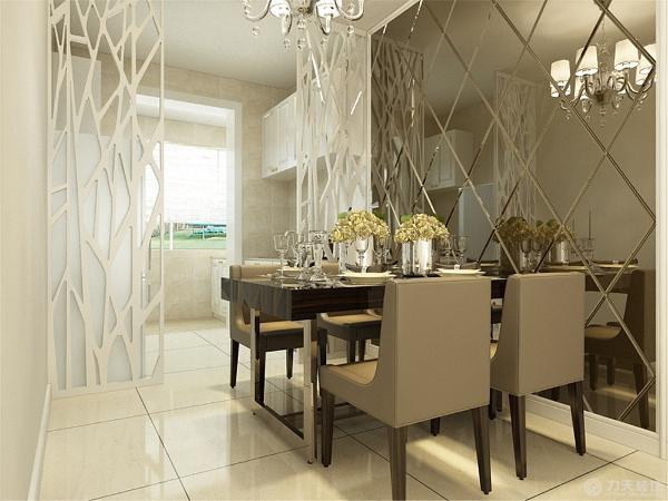 餐厅边上是茶色的菱形镜后面是隔断用于与厨房的分区用,屋子里整体的柜子都是以白色为主的。主卧室顶面是石膏线的圈边,地面是木地板整体的墙面是白色的。