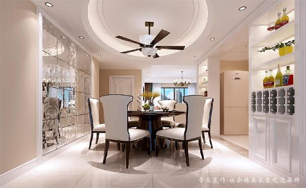 餐厅使用雕花银镜装饰墙面,显得靓丽典雅,同时镜子能从视觉上拓宽空间,使空间看起来更通透宽敞。主要用点线面的方式来体现整个中式空间,使整个空间散发出有清新自然的气息。
