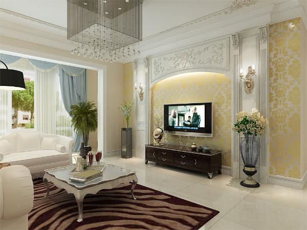 采用了欧式立柱加上圆拱形的装饰,显得庄重而典雅,墙面用亮金色的壁纸平铺,显得辉煌大气,两边在搭配两盆绿色植物做装饰。使空间增加一点生机。
