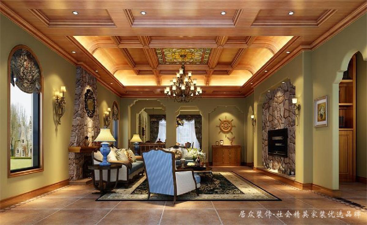 美式 欧式 别墅 客厅图片来自深圳居众装饰集团在古典贵气美式-鲸山觐海350㎡别墅的分享