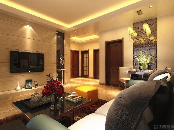 本方案以暖色调为主,沙发背景墙采用深色壁纸。电视背景墙:电视背景墙是一大亮点。