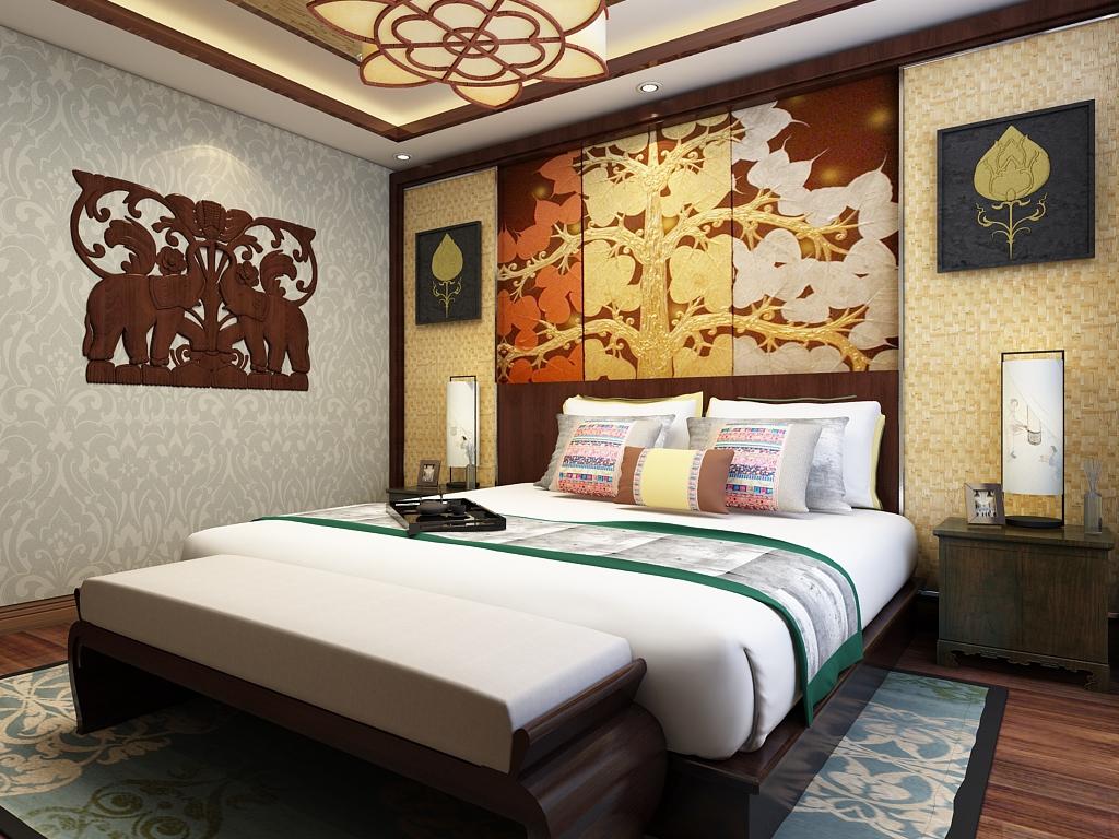 中式 三居 80后 卧室图片来自石家庄阳光力天装饰在城南春天-120㎡-中式的分享