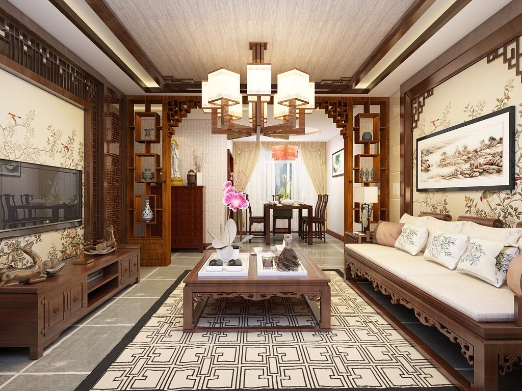 客厅图片来自石家庄阳光力天装饰在城南春天-120㎡-中式的分享