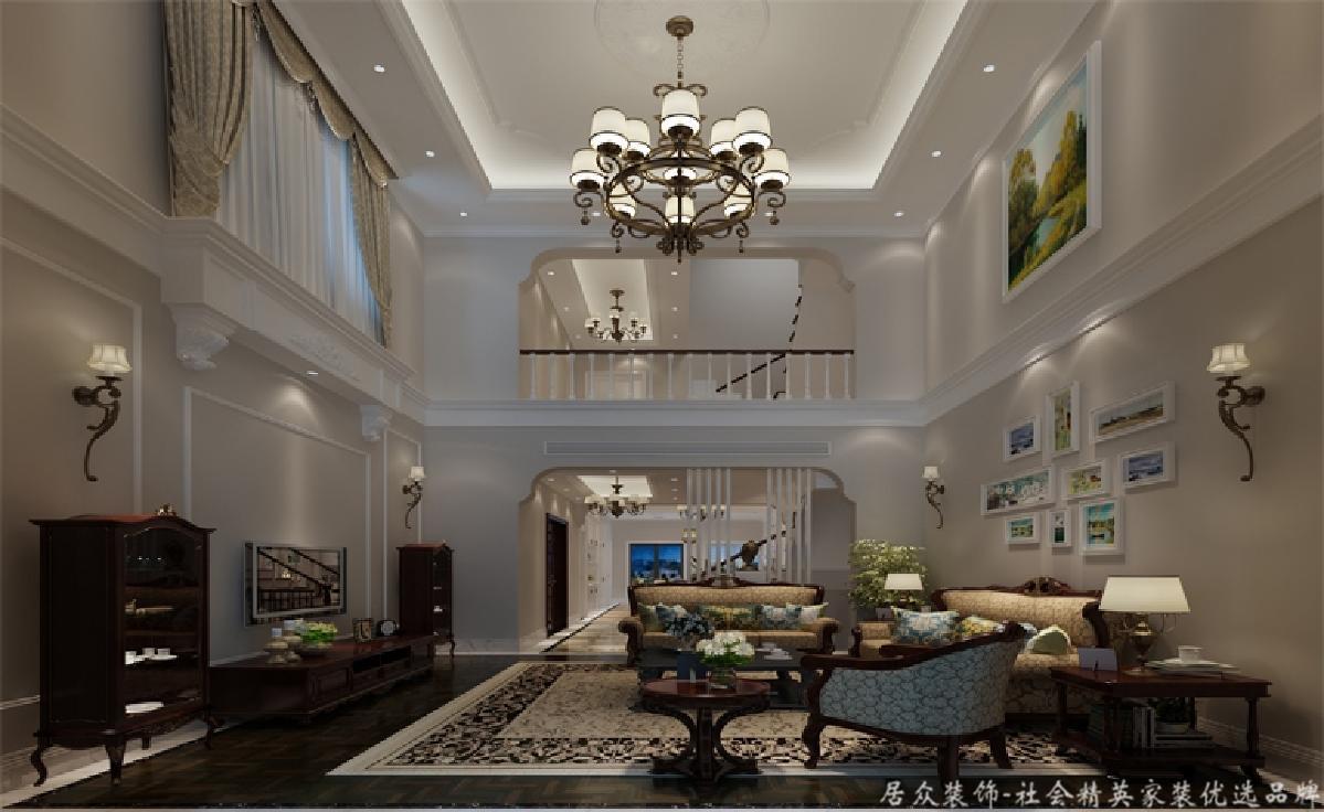 别墅 小资 美式风 客厅图片来自重庆居众装饰在融创奥园-美式风格-500㎡的分享