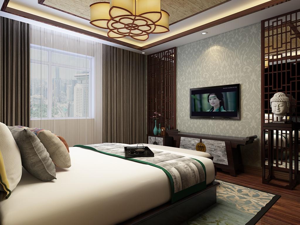 中式 三居 卧室图片来自石家庄阳光力天装饰在城南春天-120㎡-中式的分享