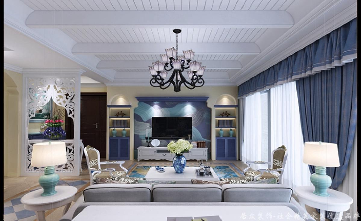 """地中海 四居 客厅图片来自gz居众装饰在""""混搭""""田园的分享"""