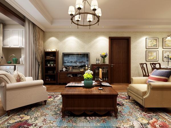 壁纸和硅藻泥的墙壁,让人走进客厅的第一时间就被其所吸引。