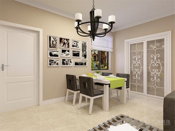 餐桌为白色烤漆,座椅为深灰色的布艺和白色烤漆相结合。考虑的厨房的使用舒适性因此选择了白色推拉门。
