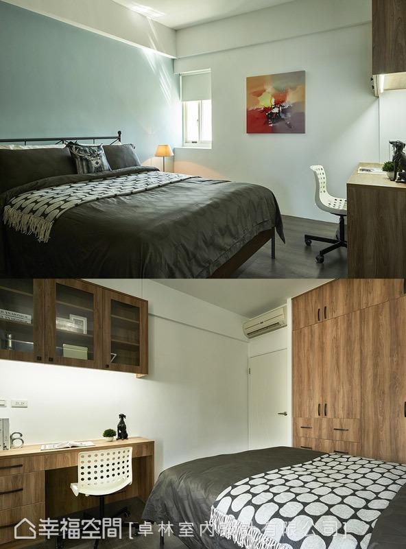 男孩房的色调以轻浅蓝为题,搭配色调较为沉稳的系统柜面,铺述带有个性感的空间面貌。