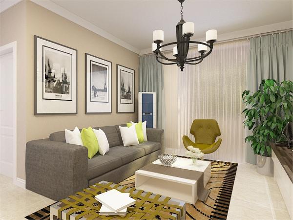 客厅区的电视背景墙采用整面墙的现代壁纸形式,和其他墙面做了材质上的对比,在颜色上可以和其他墙面相呼应。