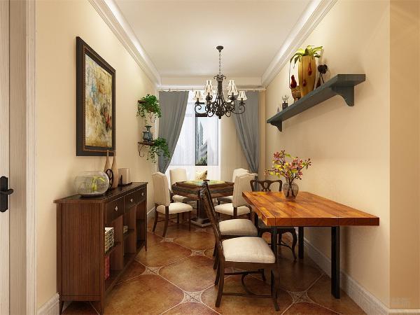 在餐厅的设计中,就餐区的背景采用的是木质摆件台,小盆栽的配搭使空间更加自然。